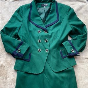 Vintage Green and Navy Suit Set